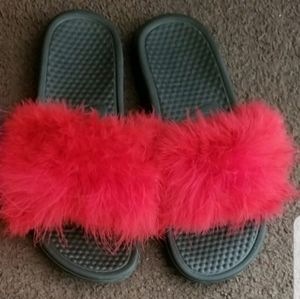 Red Nike Fur Slides Size 10